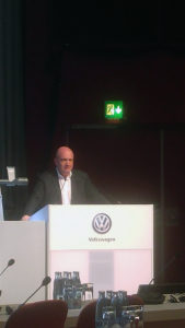 Bernd Osterloh addresses the VW Works Council last December in Wolfsburg, Germany.  He is the Chairman of the VW Global Group Works Council, a position he has held since 2005, and is also a member of the Volkswagen Supervisory Board.