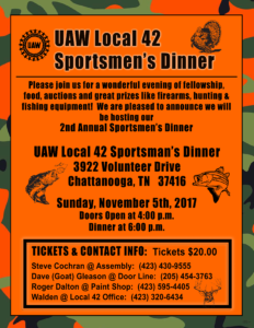 UAW Local 42 Sportsmens Dinner 09082017
